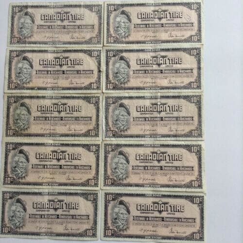 10 x Canadian Tire 10¢ Circulated bill - CTC S04-C (1974)