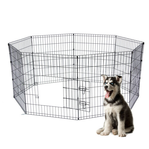 """30"""" Dog Playpen Crate 8 Panel Fence Pet Play Pen Exercise Puppy Kennel Cage"""
