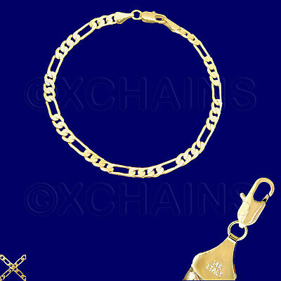 NEW 14K HEAVY GOLD PLATED 4mm FIGARO 7