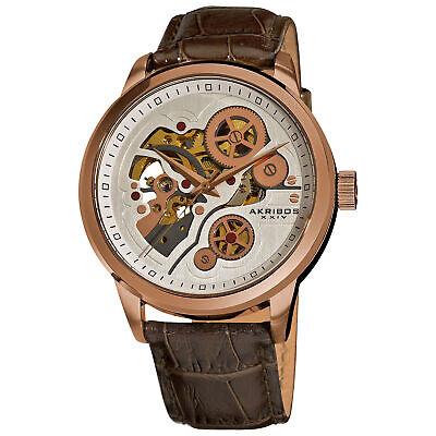 New Men's Akribos XXIV AK538BR Rose-tone Automatic Skeleton Leather Strap Watch