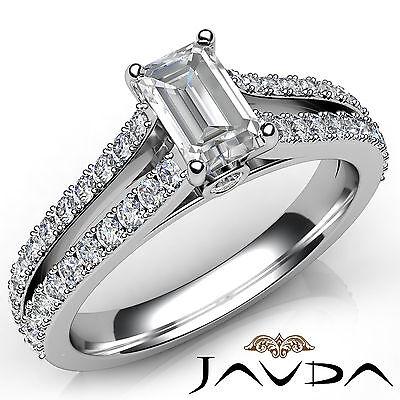 Emerald Diamond Split Shank Set Engagement Ring GIA F VVS2 18k White Gold 1.36Ct