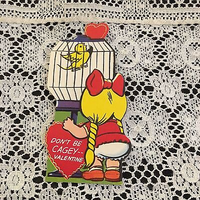 Vintage Greeting Card Valentine Cute Girl Bird Cage