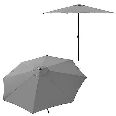 [casa.pro]® Sonnenschirm Ø300cm ALU GRAU Kurbel Schirm Marktschirm Garten 3m