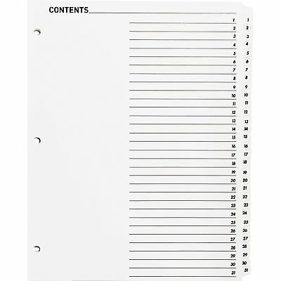 Business Source Index Dividers Wtoc Page 1-31 31 Tabst 11x8-12 White 05859