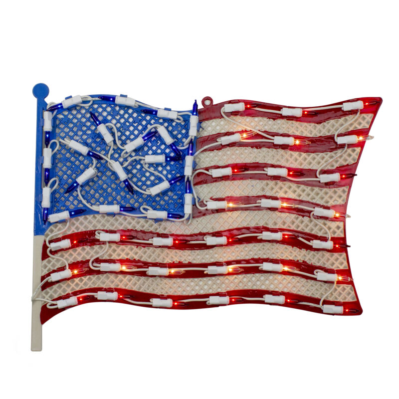 "Northlight 14"" Lighted Patriotic American Flag Window Silhouette Decoration"