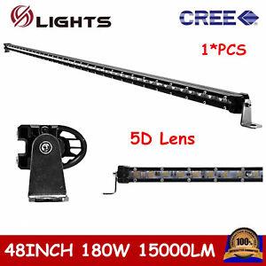 48 light bar ebay 48inch 180w cree led light bar slim single row offroad truck atv suv 4wd 5d lens aloadofball Images