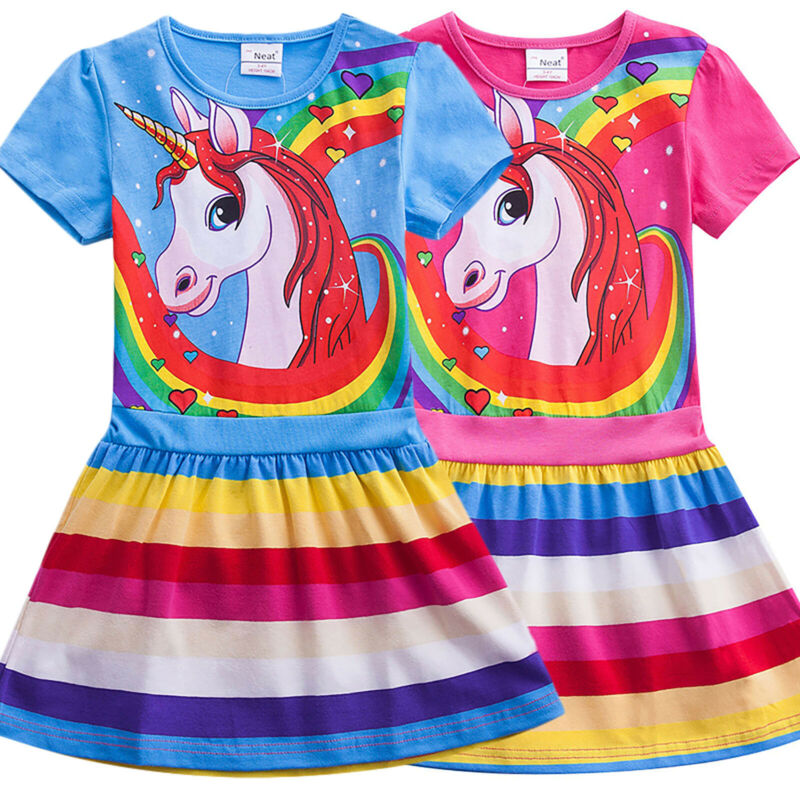 Baby Girls Summer Holiday Dress Skater Unicorn Print Rainbow