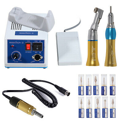 Dental Marathon Electric Micromotor Contra Angle Straight Handpiece Burs Gold Or
