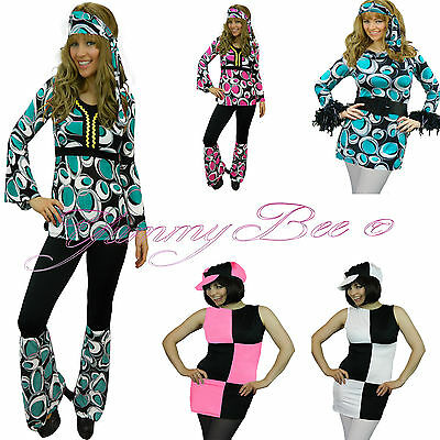 Yummy Bee Hippy Fancy Dress Costume Outfit Women 70s 60s Hippie Disco Plus Size