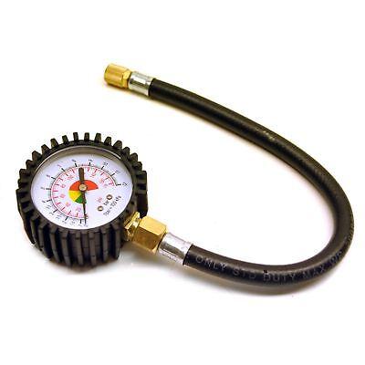 Tyre Air Pressure Gauge Dial Analog Flexi Hose Valve Car Bike Bicycle PSI Sil1