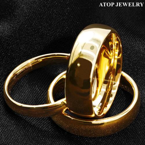Tungsten Carbide Gold Polish Dome Wedding Band Ring ATOP Men