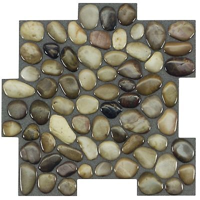Peel and Stick Pebbles Brown Khaki Beige Glossy Resin Vynil Mosaic Tile MTO0410 ()