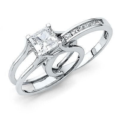 Square Princess Cut 2 Piece Engagement Wedding Ring Band Set 14K White Gold