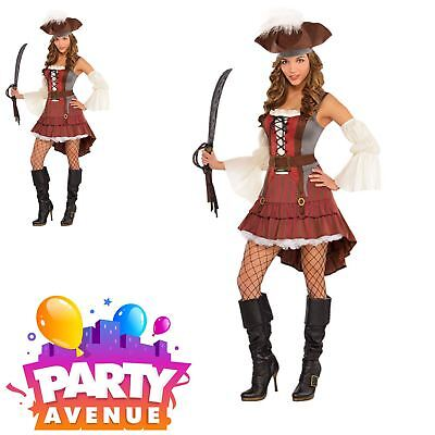 Ladies Castaway Pirate Wench Adults Fancy Dress Up Costume