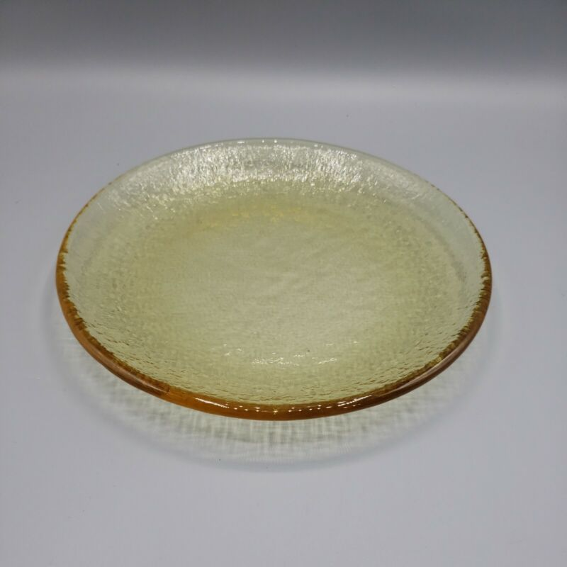 """FIRE AND LIGHT Recycled Glass Dessert Salad Plate CITRUS 8"""" ~Mint~"""