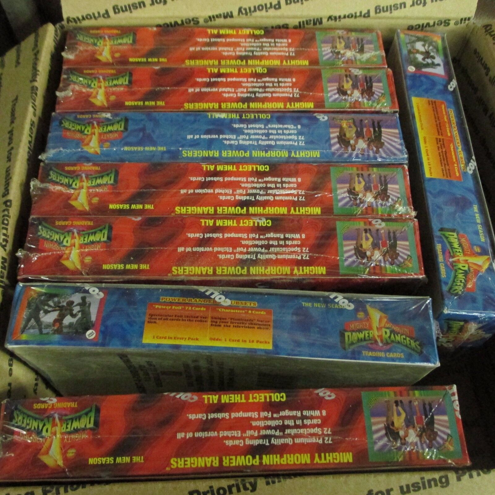 8 BOX LOT Mighty Morphin Power Rangers Hobby and Collect a card red and blue Box