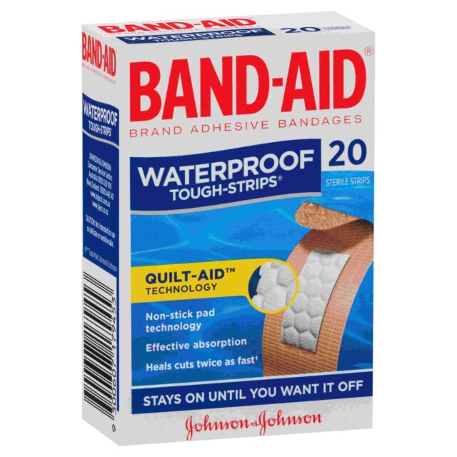 BAND-AID Tough Strips Waterproof Regular Pkt 20