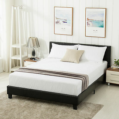 Idol Size Faux Leather Platform Bed Frame & Slats Upholstered Headboard Bedroom