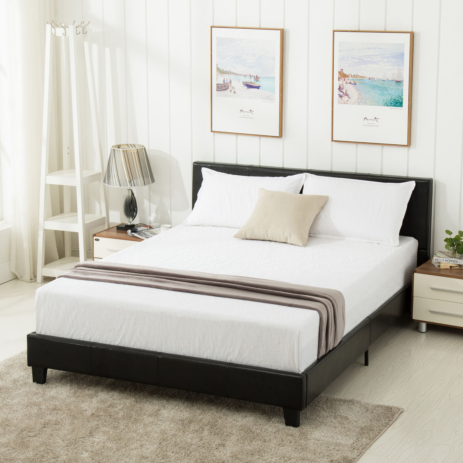 Queen Size Faux Leather Platform Bed Frame & Slats