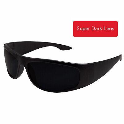 Wrap Around Sunglasses (Matte Black Super DARK Lens Biker Wrap Around Chopper Sunglasses Gangster Cholo )