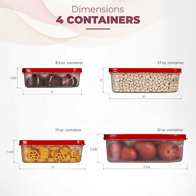 Food Storage Plastic Containers Reusable with Lids Square 4 Piece Set, BPA-Free. Square Food Storage Set