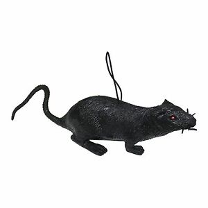 20cm Black Rubber Halloween Rat Toy Decoration