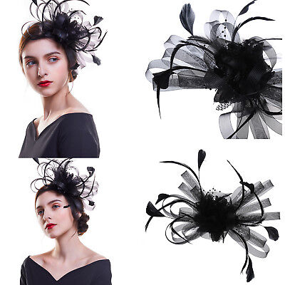 Women Flower Veil Hair Clip Top Hat Fascinator Wedding Cocktail Party Headpiece (Top Hat Fascinators)
