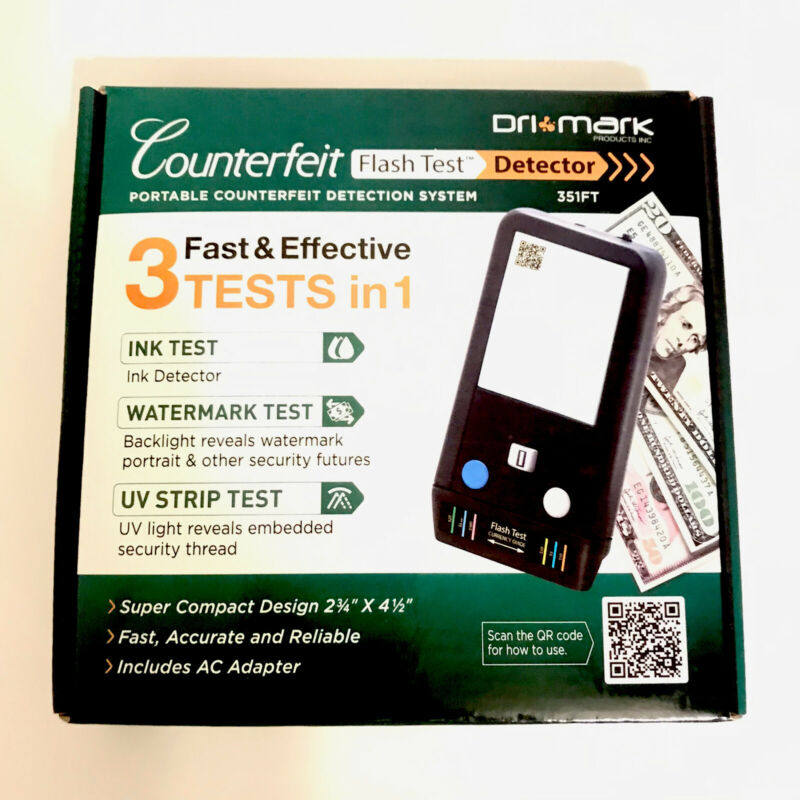 'Drimark' Portable Counterfeit Flash Test Detector~New~ 3 Tests In 1~ 351FT