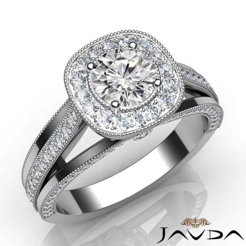 Natural Round Halo Pave Diamond Engagement Ring GIA E VS2 Platinum 950 1.4ct