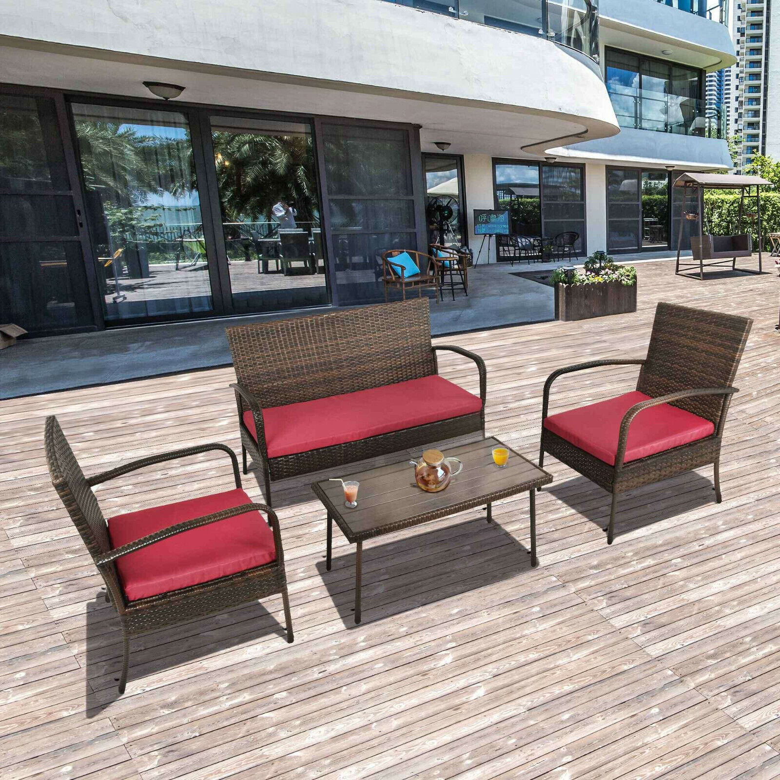 Garden Furniture - 4 PCS Outdoor Patio Wicker Sofa Set Rattan Sectional Furniture Garden Cushioned
