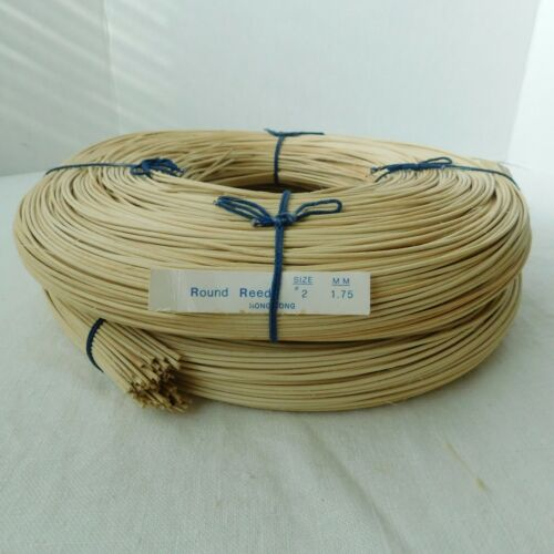 Lot of 2, Round Reed #2 1.75mm 2 lbs. Basket Weaving NEW, Made in Hong Kong