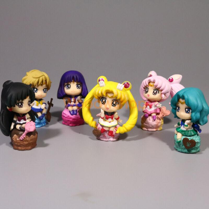 "Sailor Moon Ice Cream Party Petit Chara Land 2"" Anime Figure 6pcs Set Doll"
