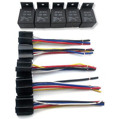 5-Pack DC 12V 30/40 Amp Car SPDT Automotive Relay 5 Pin With Harness Socket Set
