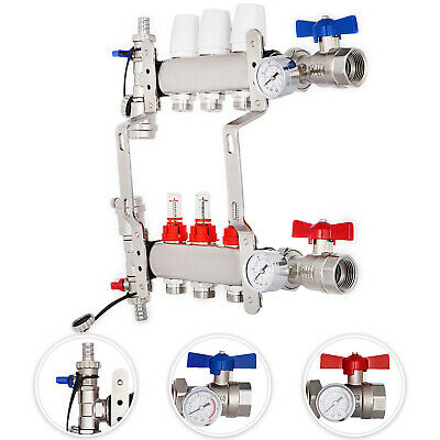 3-branch Pex Radiant Floor Heating Manifold Set - Stainless Steel For 12 Pex
