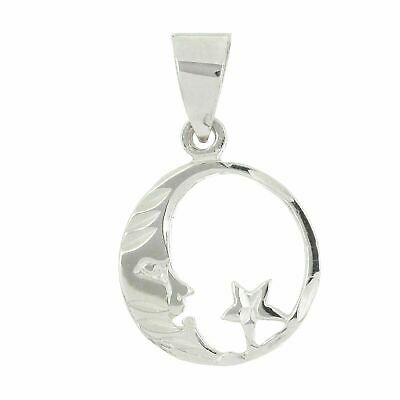 14k White Gold High Polished Crescent Moon and Star Round Charm Pendant 1.1 gram White Gold Round Charm