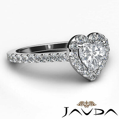 Halo French Pave Set Heart Cut Diamond Engagement Ring GIA Certified G VS2 1 Ct 9