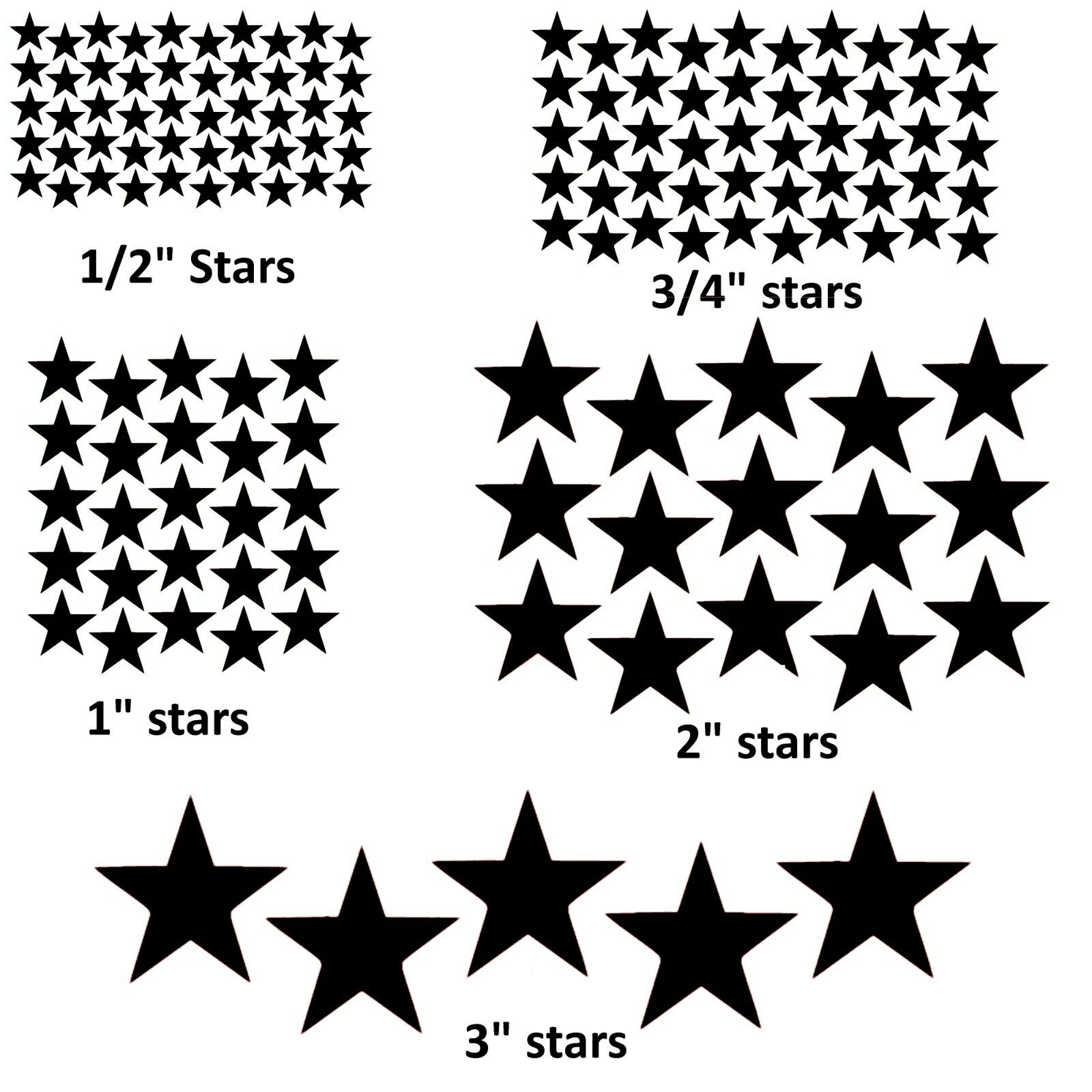 Home Decoration - Star stickers! Pick your size and color! Permanent outdoor glossy vinyl decals.