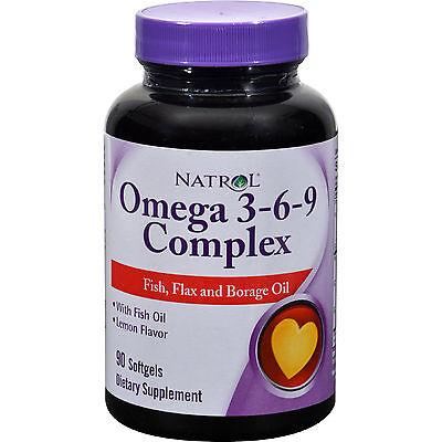 Borage Oil Pills + Flax Seed & Fish Oil Supplement Omega 3-6-9 Lemon Capsules