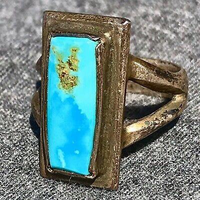 1940s Jewelry Styles and History 1940s Small Blue Turquoise Square Pawn Navajo Antique Fred Harvey Silver Ring $150.00 AT vintagedancer.com