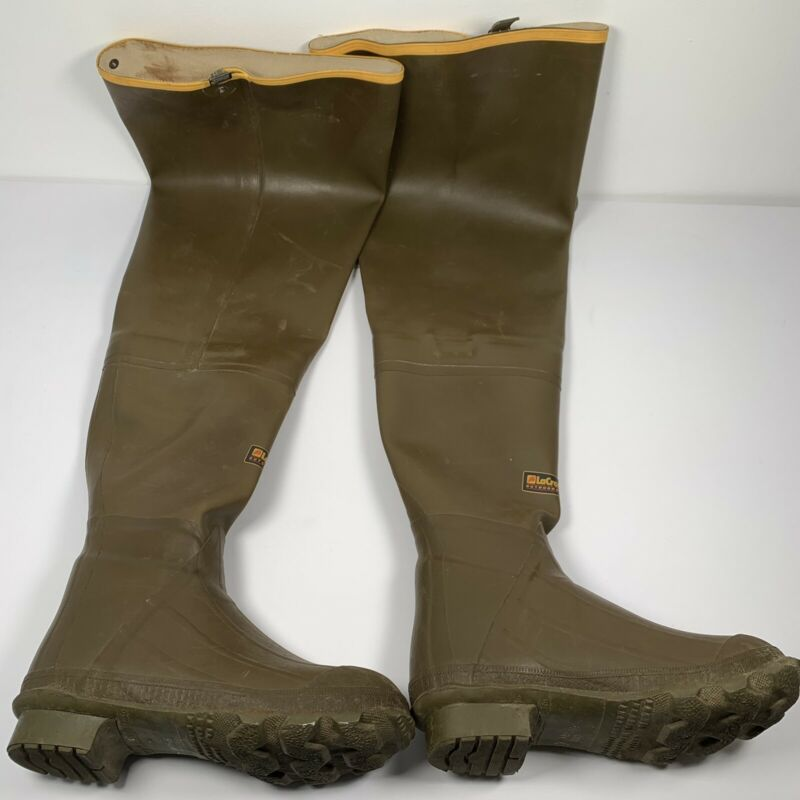 "Vintage Lacrosse Outdoorsman Wader Boots Thigh Fiberglass Shank 32"" - Size 6"