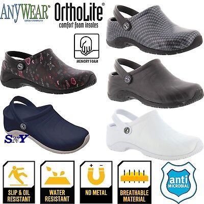 Anywear women's work nurse shoes slip & oil resistant LightWeight Anti Microbial