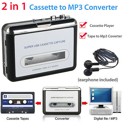 USB Cassette Tape to PC MP3 CD Digital File Converter Capture Audio Music Player