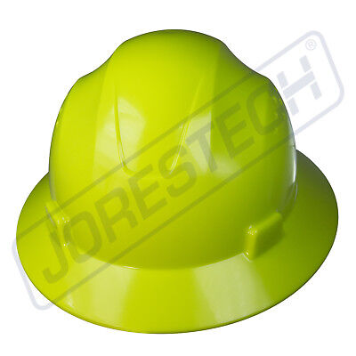 Hi-vis Lime Hard Hat Full Brim Jorestech 4 Point Ratchet Suspension Construction