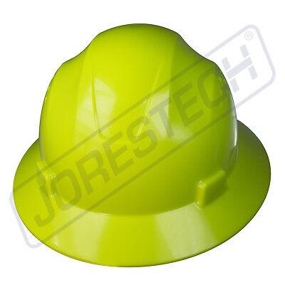 Hi-vis Lime Hard Hat Full Brim Jorestech 4 Point Ratchet Suspension Construction