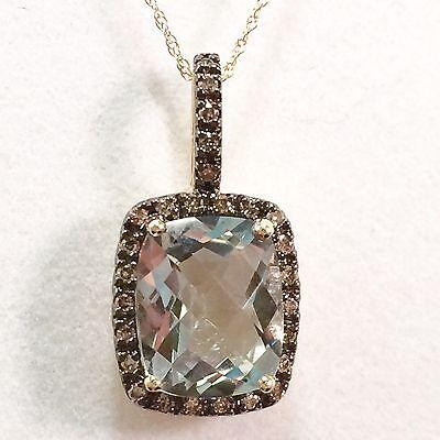 Genuine 4.78ct Prasiolite (Green Quartz) Diamond Halo Pendant 10k Gold -