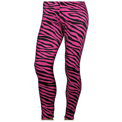 RAD Neon 80's Heavy Metal GLAM Rock Bon Jovi PINK ZEBRA Spandex Stretch Pants