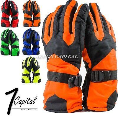 (Mens Womens Adjustable Winter Warm Thermal Waterproof Ski Snowboarding Gloves)