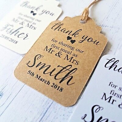 Personalised Wedding Tags Thank You For Sharing Our First Meal Dinner Tags - Thank You For Dinner
