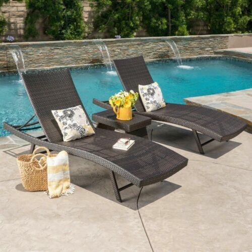Eliana 3pc Wicker Chaise Lounge Set Home & Garden