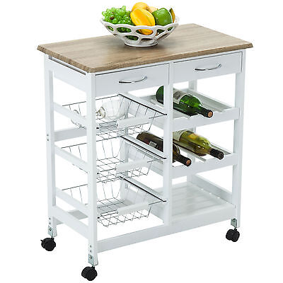 Oak Kitchen Archipelago Cart Trolley Portable Rolling Storage Dining Table 2 Drawers